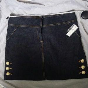 Dark denim pop button skirt